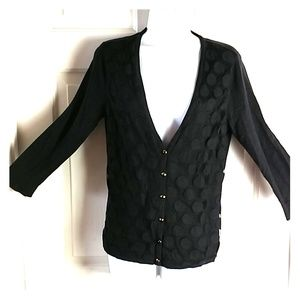 New York M sweater polka dots 3/4 sleeve M. BLACK